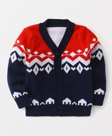 Superfie Printed Buttoned Sweater - Navy & Red