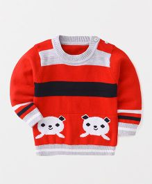 Superfie Bear Print Cotton Swetaer - Red