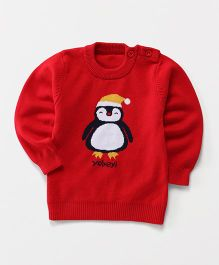 Superfie Penguin Knitted Sweater - Red