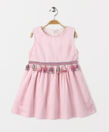 Yiyi Garden Crew Neck Sleeveless Dress - Pink