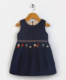 Yiyi Garden Crew Neck Sleeveless Dress - Navy