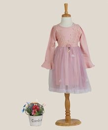 Aww Hunnie Dress With Lace Work - Pink