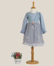 Aww Hunnie Dress With Lace Work - Blue