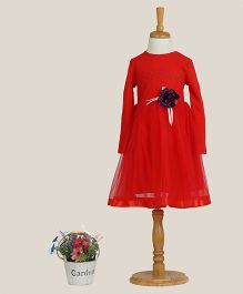 Aww Hunnie Dress With A Flower Applique - Red