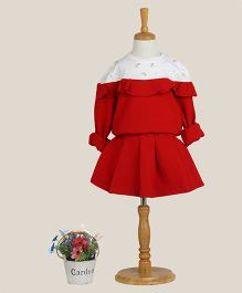 Aww Hunnie Dress With Pearl Work - Red