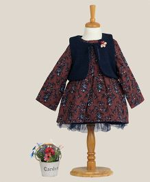 Aww Hunnie Printed Dress With Vest - Brown