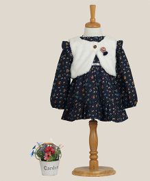 Aww Hunnie Printed Dress With Vest - Navy Blue