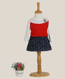 Aww Hunnie Clown Collar Dress With Vest - Red
