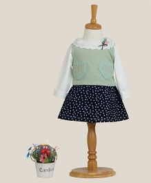 Aww Hunnie Clown Collar Dress With Vest - Green