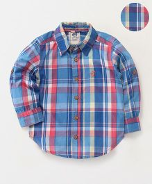 Spring Bunny Plaid Cotton Shirt - Blue