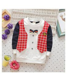 Lil Mantra Check Print Waistcoat Design Front Bow Sweatshirt - Navy Blue