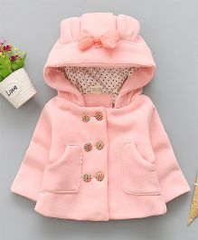 Pre Order - Lil Mantra Front Botton With Hoodie Jacket- Pink