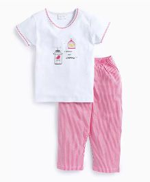 De-Nap Bird In A Cage Tee With Stripe Nightwear Set - White & Pink