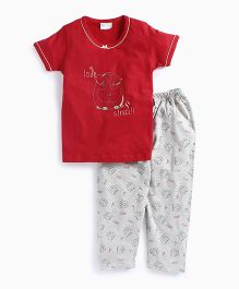 De-Nap Love Struck Pajama Set - Red & White