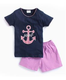 De-Nap Set Of Anchor Printed Tee & Shorts - Navy & Pink