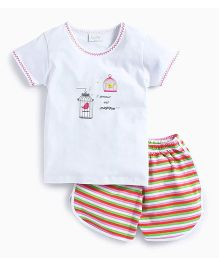 De-Nap Set Of Bird In A Cage Tee & Horizontal Stripe Shorts - White & Multicolour