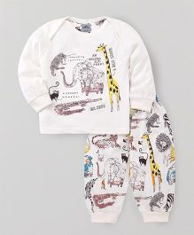 Mini Taurus Full Sleeves T-Shirt And Bottoms Animal Print - Off White