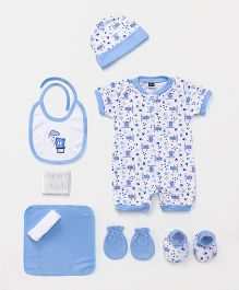 Mee Mee Clothing Gift Set Bear Print Blue White - Pack of 8