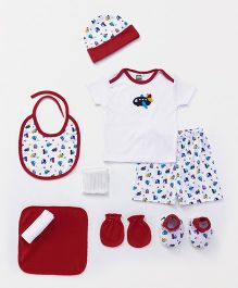 Mee Mee Clothing Gift Set Pack of 9 - Red & White