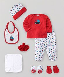 Mee Mee Clothing Gift Set Pack of 8 Car Print - Red