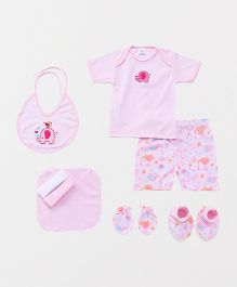 Mee Mee Clothing Gift Set Elephant Print Pack Of 8 - Pink