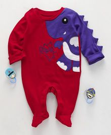 Mom's Love Full Sleeves Romper Dino Embroidery - Red