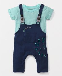 Giny & Jony Dungaree Romper With T-shirt Clock Print - Teal Blue