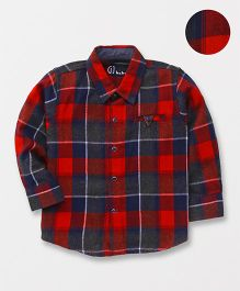 Gini & Jony Full Sleeves Checks Shirt - Red Blue