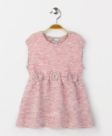 GJ Baby Pretty Sleeveless Frocks With Floral Applique - Pink