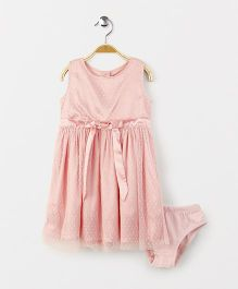 Giny & Jony Sleeveless Party Wear Frock With Bloomer - Pink