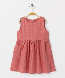 Yiyi Garden Crew Neck Sleeveless Dress - Peachish Red