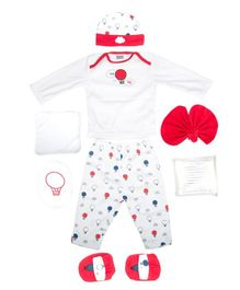 Mee Mee Combo Clothing Gift Set Car Print Pack Of 8 - Red & White