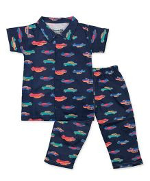 Earth Conscious Organic Cotton Night Suit Car Print - Navy Blue