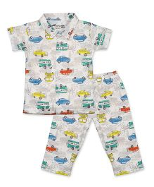 Earth Conscious Organic Cotton Night Suit Vehicle Print - White