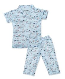 Earth Conscious Organic Cotton Printed Night Suit - Sky Blue