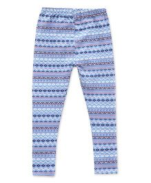 Earth Conscious Organic Cotton Full Length Printed Leggings - Sky Blue