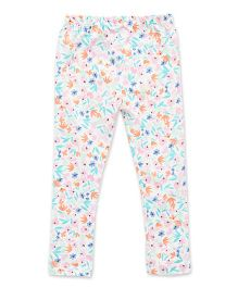 Earth Conscious Organic Cotton Full Length Leggings Floral Print - White & Multicolor