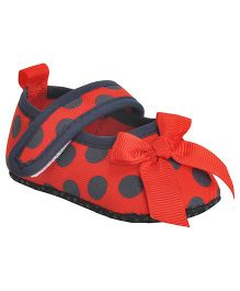 Kiwi Booties With Strap Polka Dots - Red & Black