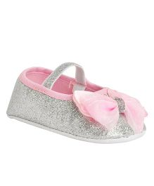 Kiwi Glitter Booties With Strap & Bow Applique - Silver & Pink