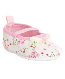 Kiwi Booties With Strap Floral Print & Bow Applique - Pink