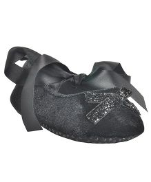 Kiwi Glitter Booties With Ribbon Strap - Black
