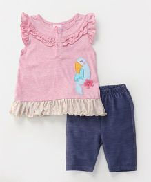 Pretty Kibo Parrot Print Top & Shorts Set - Pink & Blue