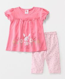 Pretty Kibo Rabbit Print Top & Leggings Set - Pink