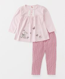 Pretty Kibo Deer Print Frock & Legging Set - Pink