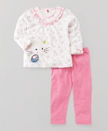 Pretty Kibo Cat Print Top & Leggings Set - White & Pink