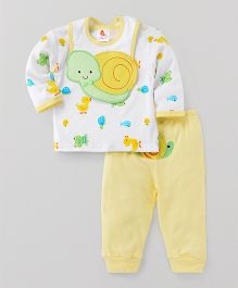 Pretty Kibo Baby Top & Bottom Suit with Bib - Yellow