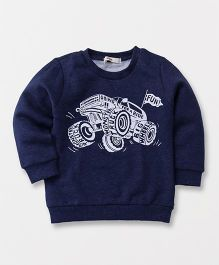 Fox Baby Full Sleeves Sweatshirt Truck Print - Blue