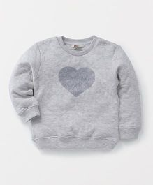 Fox Baby Full Sleeves Sweatshirt Heart Design - Grey