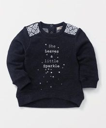 Fox Baby Full Sleeves Sweatshirt Text Print - Dark Navy