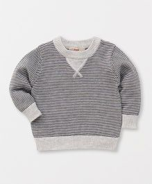 Fox Baby Full Sleeves Sweatshirt Stripe Design - Grey